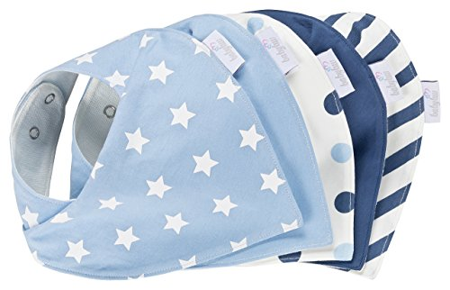 Baby-Lätzchen Set für Jungs 5 Stück, Dreieckstuch aus Baumwolle in den Farben Blau, Hellblau und Weiß,Wasserdicht - Halstuch - Spucktuch - Sabberlätzchen
