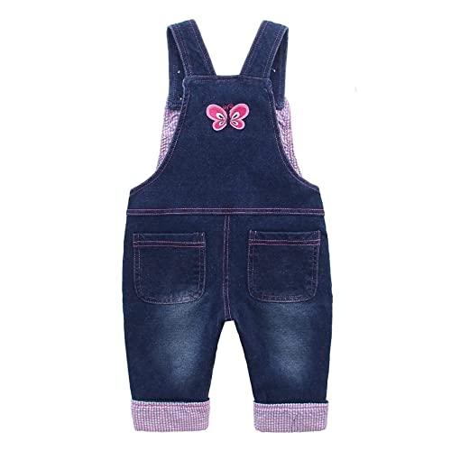Baby Mädchen Denim Overall Jeans Hose mit Hosenträger Kinder Baumwolle Latzhose Kaninchen Butterfly - 100 - 2