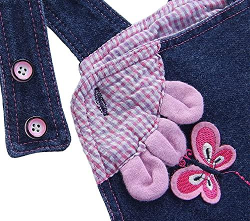 Baby Mädchen Denim Overall Jeans Hose mit Hosenträger Kinder Baumwolle Latzhose Kaninchen Butterfly - 100 - 3