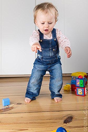 LUPILU® Baby Kinder Jungen Mädchen Latzhose (blue denim, Gr. 80) - 4