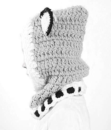 Richoose Winter-warme Coif Haube Schal-Kappen-Hut Earflap Fox gestrickte Wolleschal-Kappen-Hüte für Baby-Kinder Mädchen-Jungen, Grau - 4