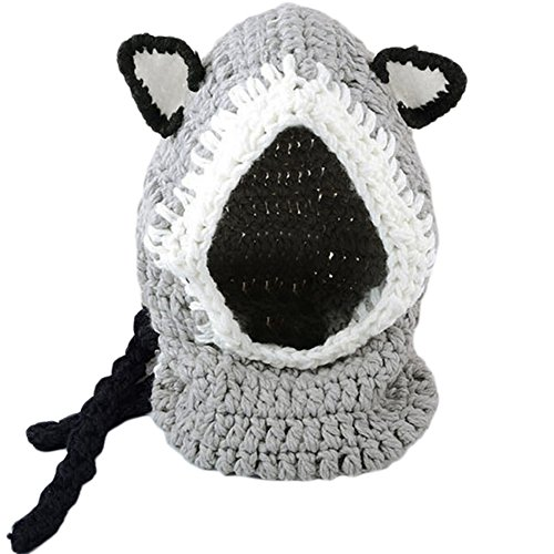 Richoose Winter-warme Coif Haube Schal-Kappen-Hut Earflap Fox gestrickte Wolleschal-Kappen-Hüte für Baby-Kinder Mädchen-Jungen, Grau - 5