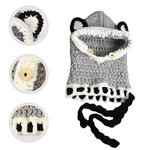 Richoose Winter-warme Coif Haube Schal-Kappen-Hut Earflap Fox gestrickte Wolleschal-Kappen-Hüte für Baby-Kinder Mädchen-Jungen, Grau - 6