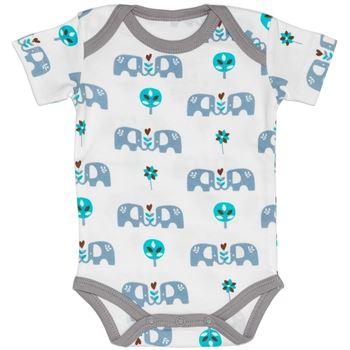 Fresk Babybody Kurzarm Elefant blau