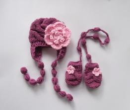 Baby handschuh und Mütze , Babymütze , Baby Girl