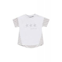 bellybutton Babyshirt, Streifen und Sternenprint - bright white