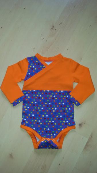 Baby-Body Langarm - Shirt Sterne bunt Gr. 74