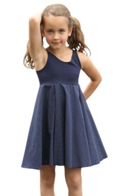 Kleid Sommerkleid Trägerkleid Marine Punkte 86-128