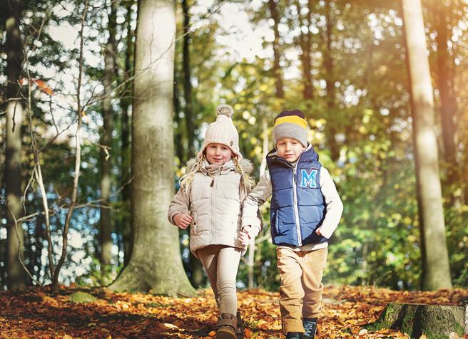 Zwei kleine Kinder wandern Hand in Hand zusammen durch den Wald und entdecken die Natur