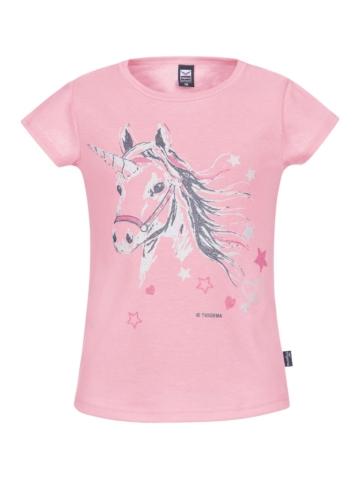 Mädchen T-Shirt mit Glitzer Einhorn Trigema rosé