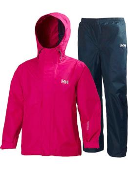 Helly Hansen 2tlg. Outfit: Regenjacke und -hose ´´Bergen´´ Pink/ Dunkelblau - 61% | Größe 128 | Kinder outdoor