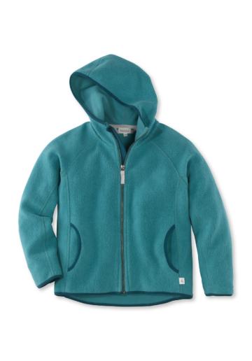 hessnatur Kinder Fleece Jacke aus Bio-Baumwolle – grün – Größe 134/140