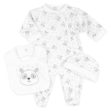 3 Teile Baby Set Panda Unisex Strampler Schlafanzug mit Latz und Mütze