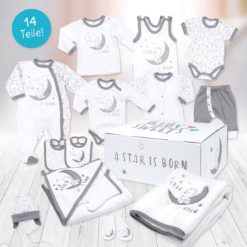 Baby Neugeborenen Erstausstattung Set 14 Teile Unisex weiß grau A Star Is Born