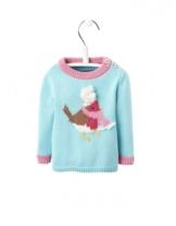 Joules Baby Pullover Robyn in Hellblau mit Vögelchen  68-74