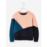 Pullover für Mädchen, Colorblock-Style nachtblau/petrol/rosa Gr. 146/152 von vertbaudet
