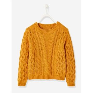Pullover für Mädchen mit Zopfmuster ocker Gr. 146/152 von vertbaudet