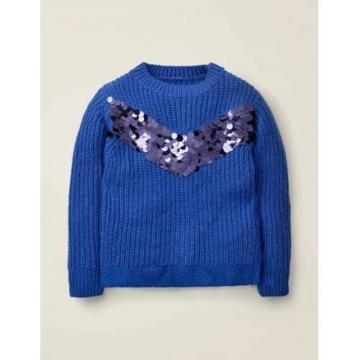 Johnnie b Blau Pullover mit Paillettenstreifen Mädchen Boden, 128, Blue