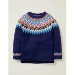 Mini Blau Fair-Isle-Pullover Mädchen Boden, 128, Blue