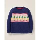 Mini Dunkelblau, Falalala Weihnachtstag-Pullover Mädchen Boden, 128, Blue